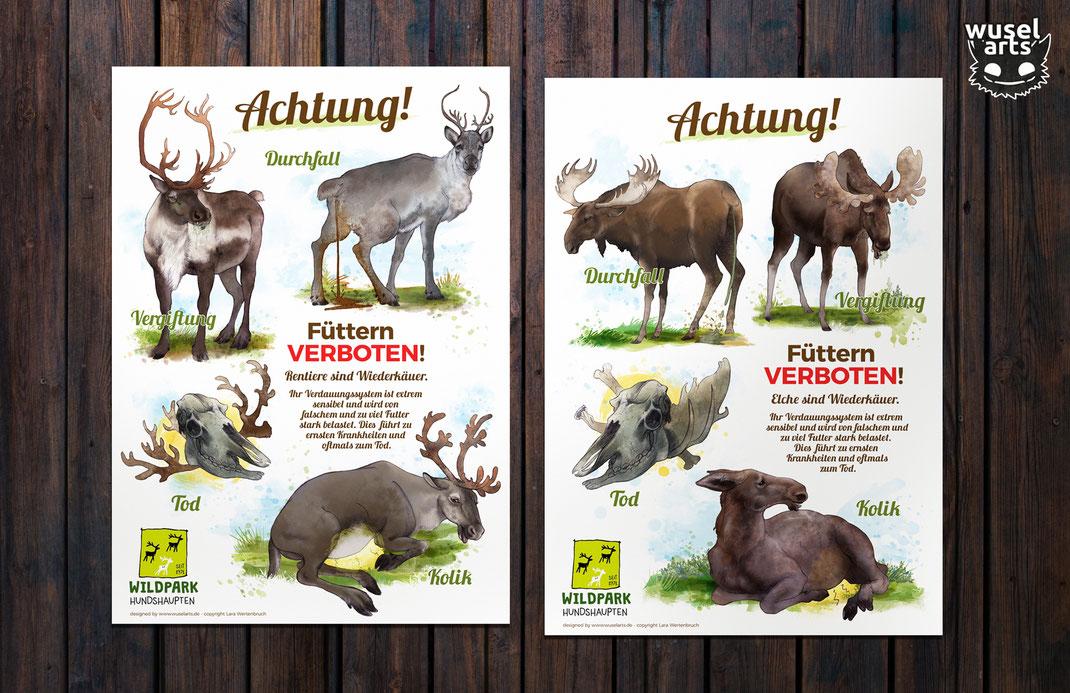 Wildpark Schild, Elch, Rentier, nicht füttern, Krankheiten bei Elch und Rentier, füttern verboten! Kolik, Durchfall, Vergiftung, Tod