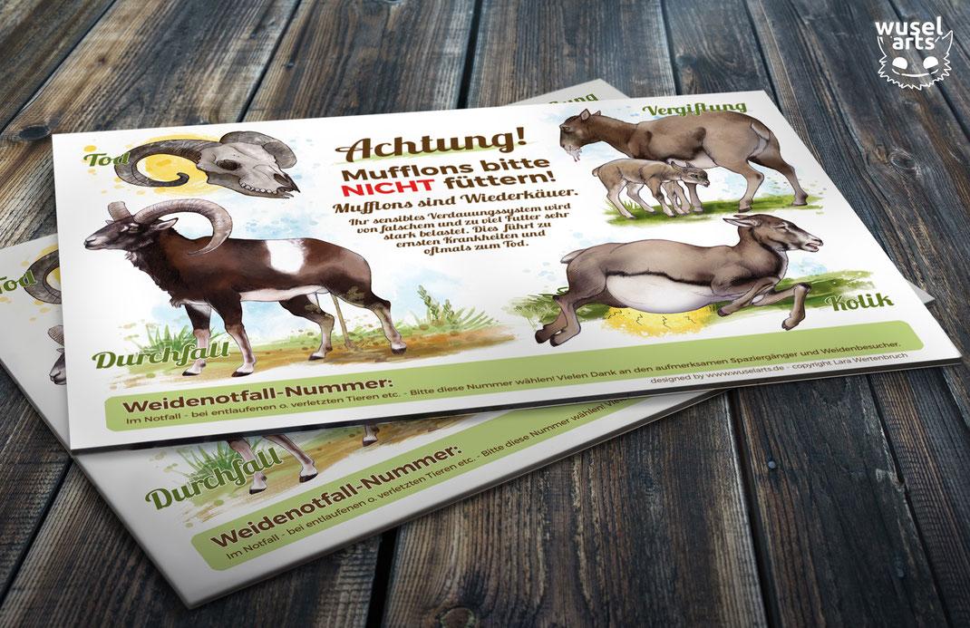 """""""Mufflons bitte nicht füttern!"""" Wildpark Schild"""