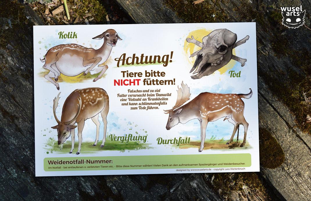"""""""Damwild nicht füttern!"""" Schild für Wildgehege erklärt, warum man die Damhirsche nicht füttern darf"""