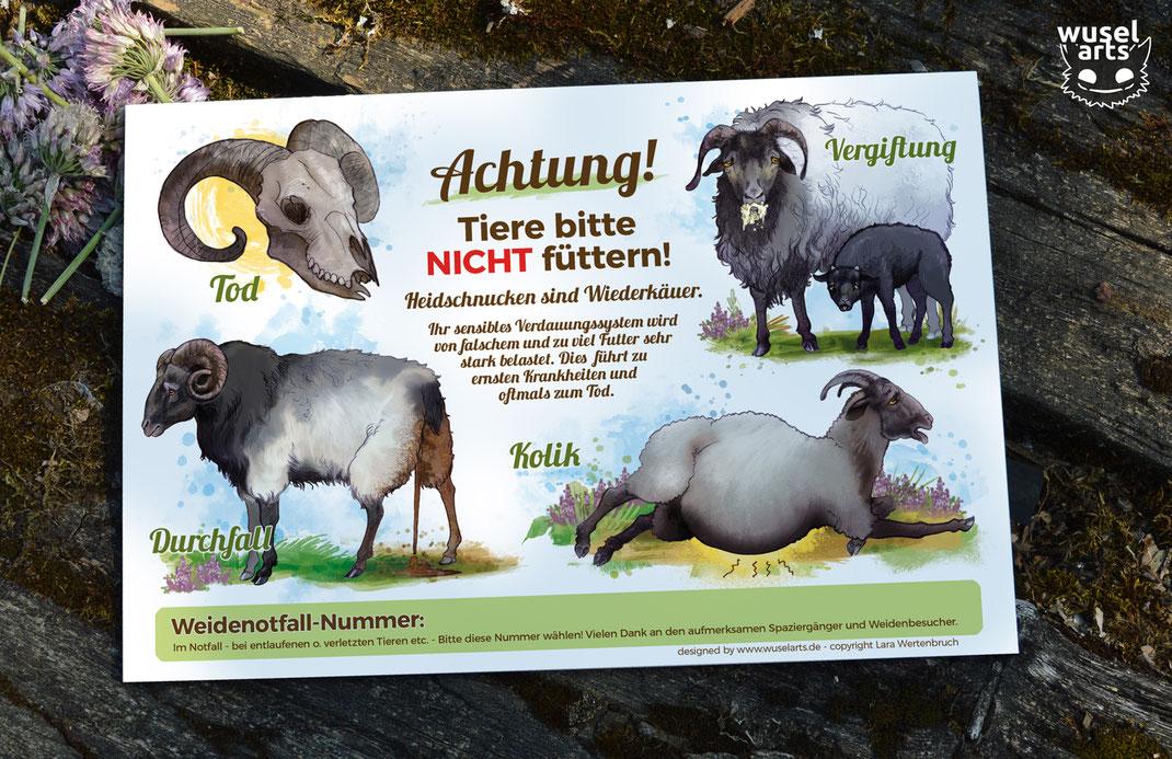 """Weideschild Heidschnucken """"Heidschnucken Schafe bitte nicht füttern!""""  Kolik, Durchfall, Vergiftung und Tod durch falsches Futter - Schild warnt Weidebesucher"""