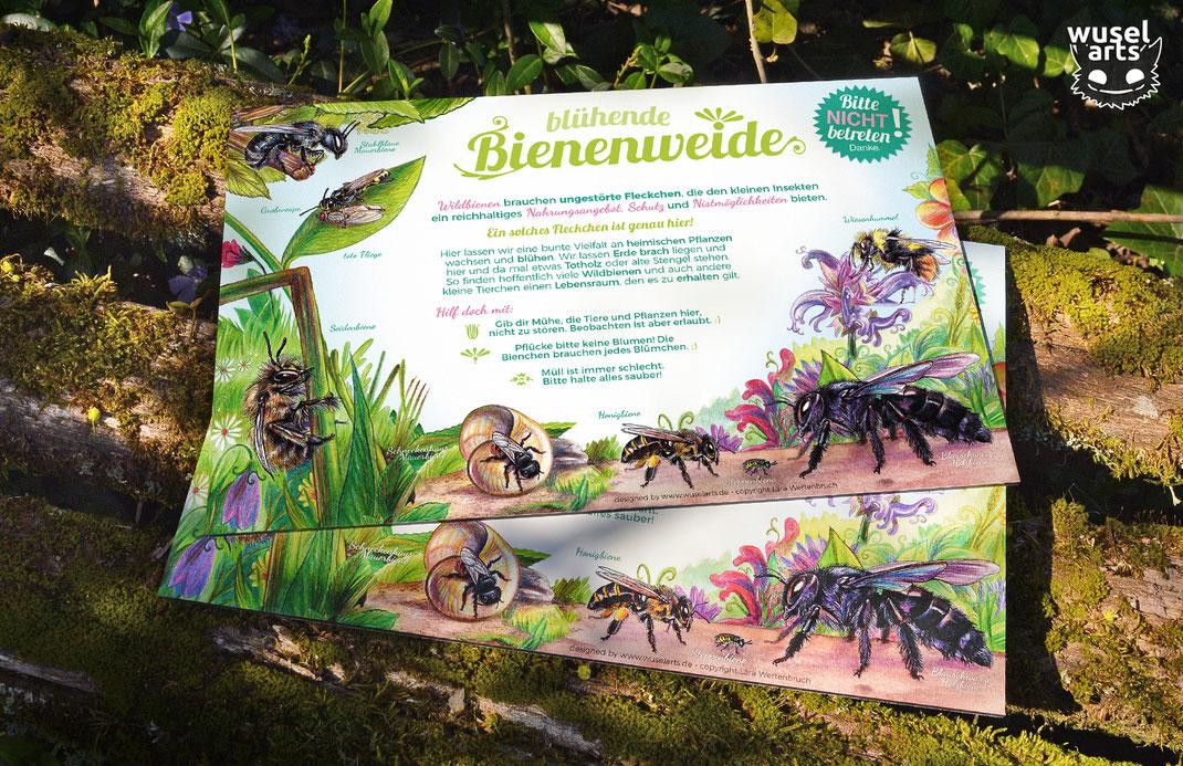 Schild für den Garten, blühende Bienenweide, zum Schutz von Wildbienen
