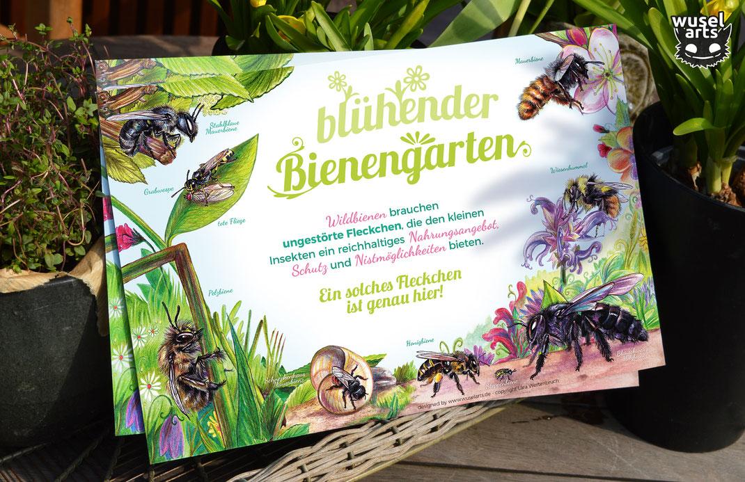 Blühender Bienengarten Schild Wildbienen