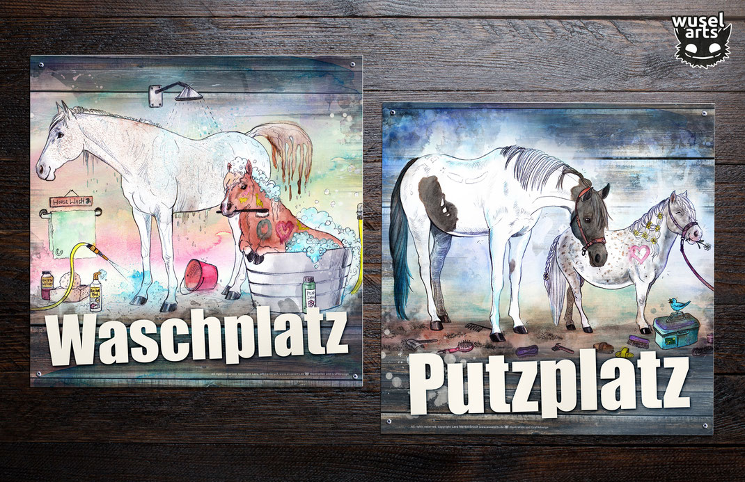 Waschplatz, Putzplatz, Reiterhof Schilder, Ponyranch Schild, Pferd, Pony