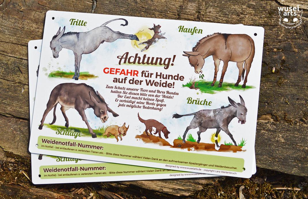 """""""Gefahr für Hunde auf der Weide!"""" Esel Schild warnt Hundehalter vor Eseln als Herdenschützer"""