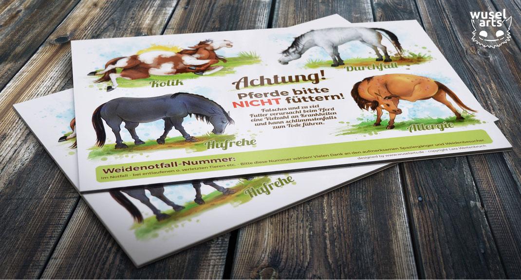 """""""Pferde bitte nicht füttern!"""" Schild - Warnt vor Kolik, Durchfall, Allergie und Hufrehe beim Pferd"""