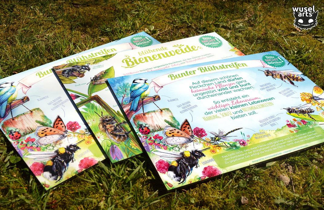 Garten Schild, Biene, Insekten, Blühstreifen, Wildbienen Schutz, Blühwiese Schild