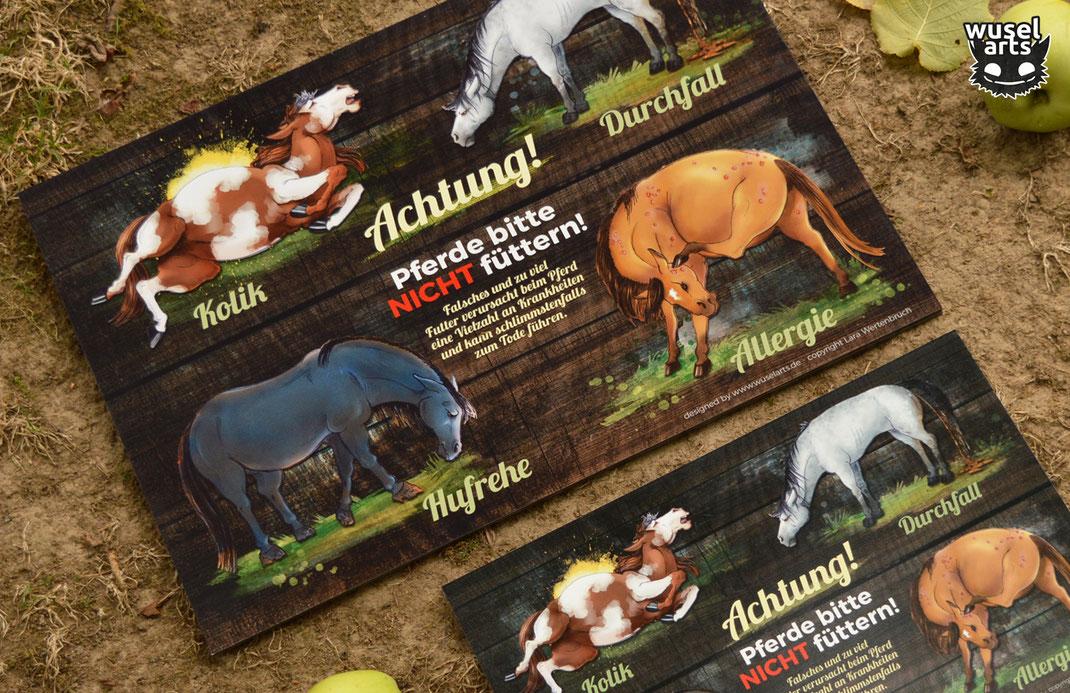 Weideschild Pferde bitte nicht füttern 30 x 42 cm, Holz Schild Pferd