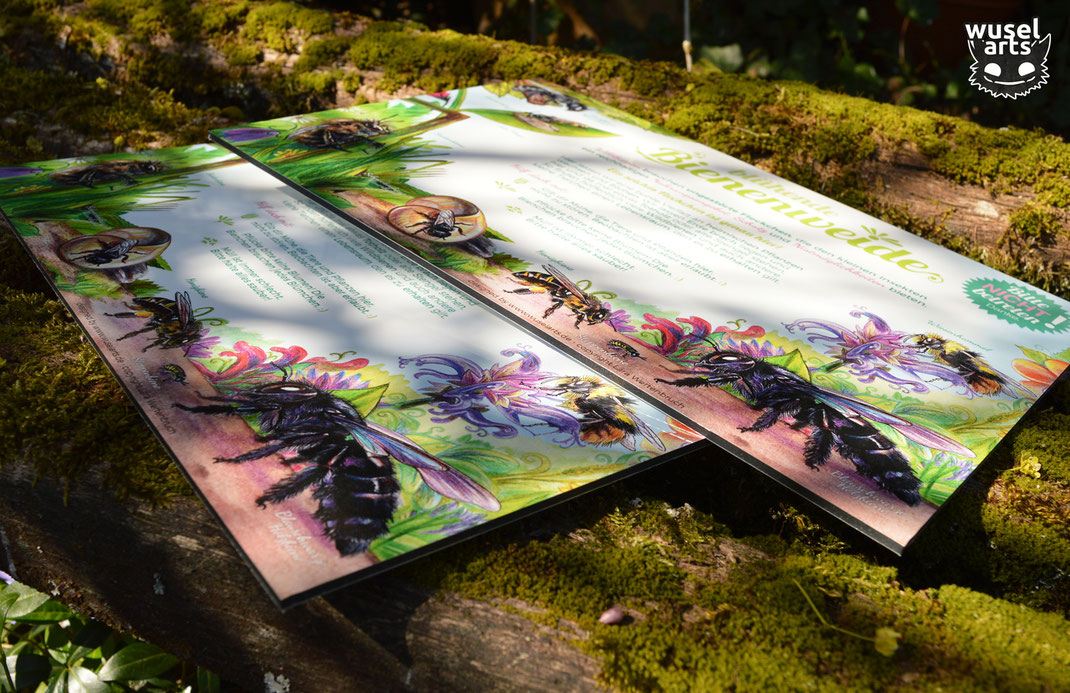 Bienenweide Schild für Blühstreifen im Garten, zum Schutz von Wildbienen