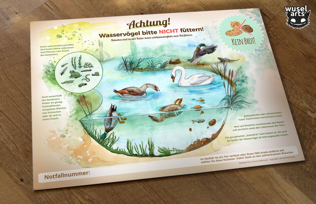 Enten und Schwäne bitte nicht füttern Schild, Wasservögel, Kein Brot!