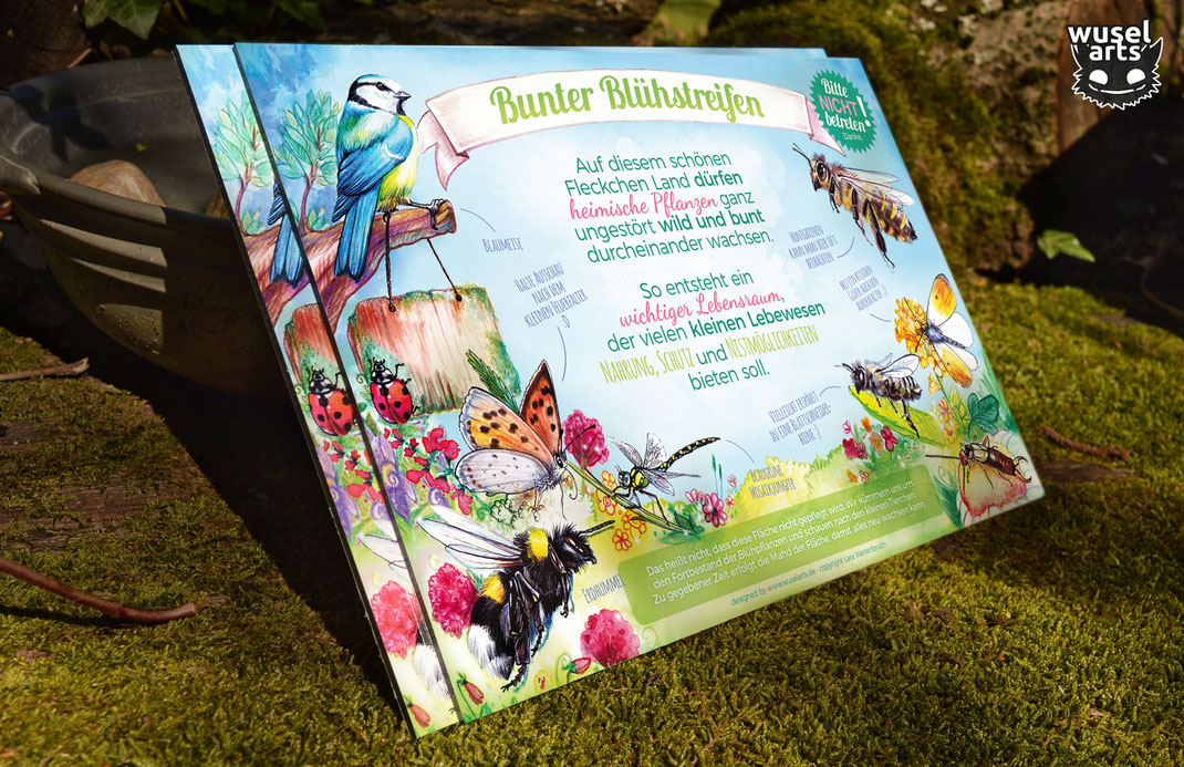 Schild bunter Blühstreifen, Bienenwiese, Blumenwiese, Wildbienen, Insektenschutz, heimische Pflanzen