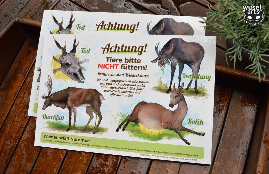 """Schild """"Rothirsche nicht füttern!"""" Durchfall, Kolik, Vergiftung, Tod des Rotwilds durch falsches Futter"""