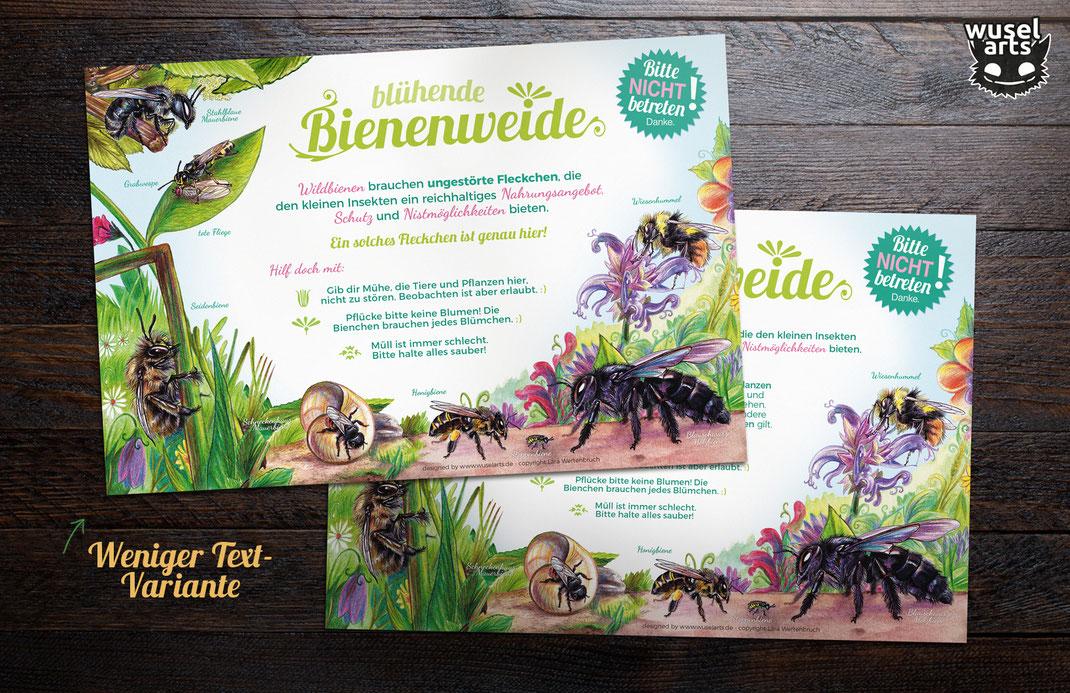 Wildbienen Schild blühende Bienenweide
