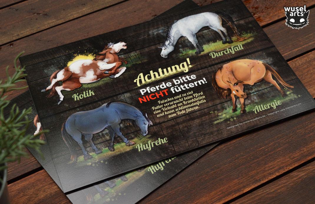 """Weideschild """"Pferde bitte nicht füttern!"""" in Holzoptik - warnt vor schlimmen Folgen bei falschem Futter wie Kolik, Durchfall, Hufrehe und Allergie beim Pferd"""