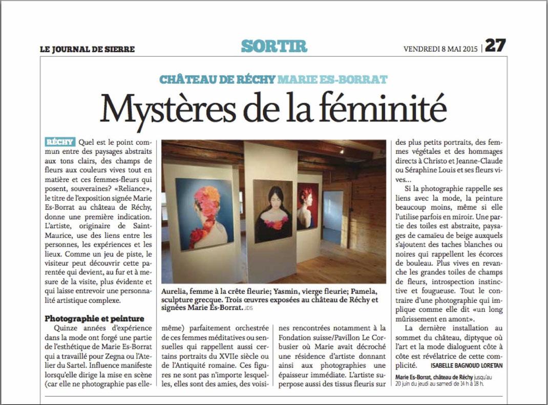 Journal de Sierre with Marie Es-Borrat's exhibition - Switzerland