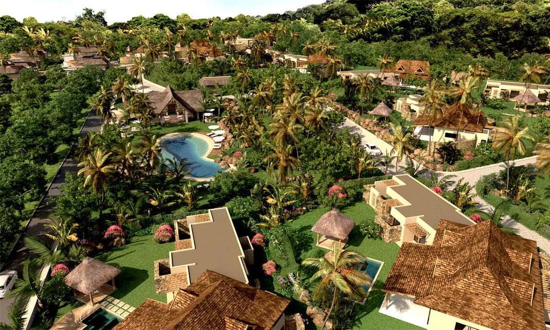 NOUVEAU RES ILE MAURICE : DOMAINE CAP TROPICAL villas spacieuses proche de la BALISE MARINA IRS ET GOLF