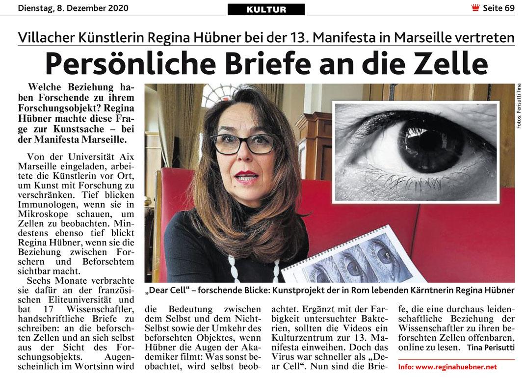 Kronenzeitung MANIFESTA 13 Dear Cell Regina Hübner Tina Perisutti