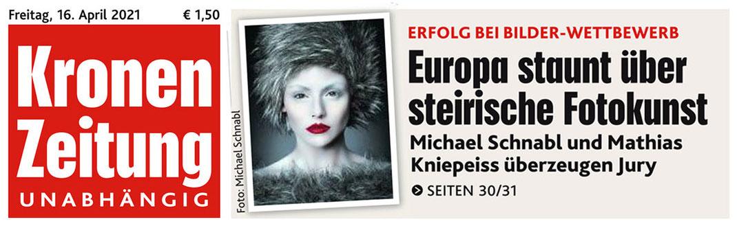 Auf der Titelseite der Kronen Zeitung