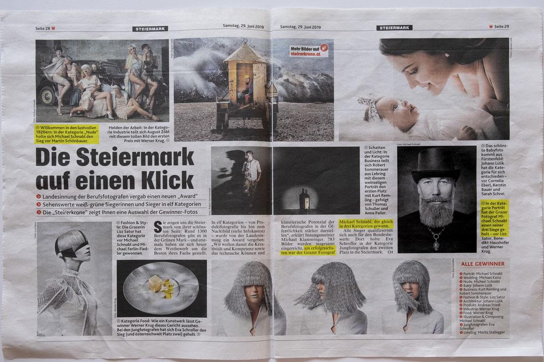Kronen Zeitung über den Landesaward der WKO bei dem Michael Schnabl 2019 der erfolgreichste Teilnehmer war.