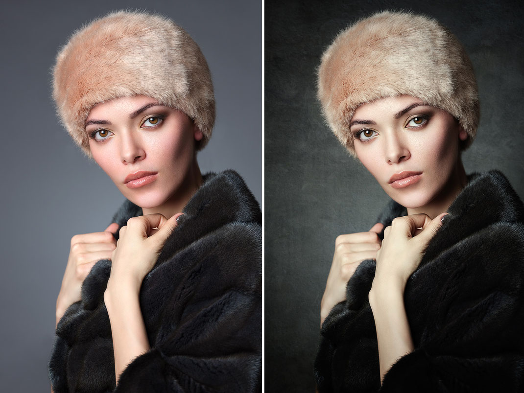 before and after: 2 textures from this collection where combined for the background of the right image