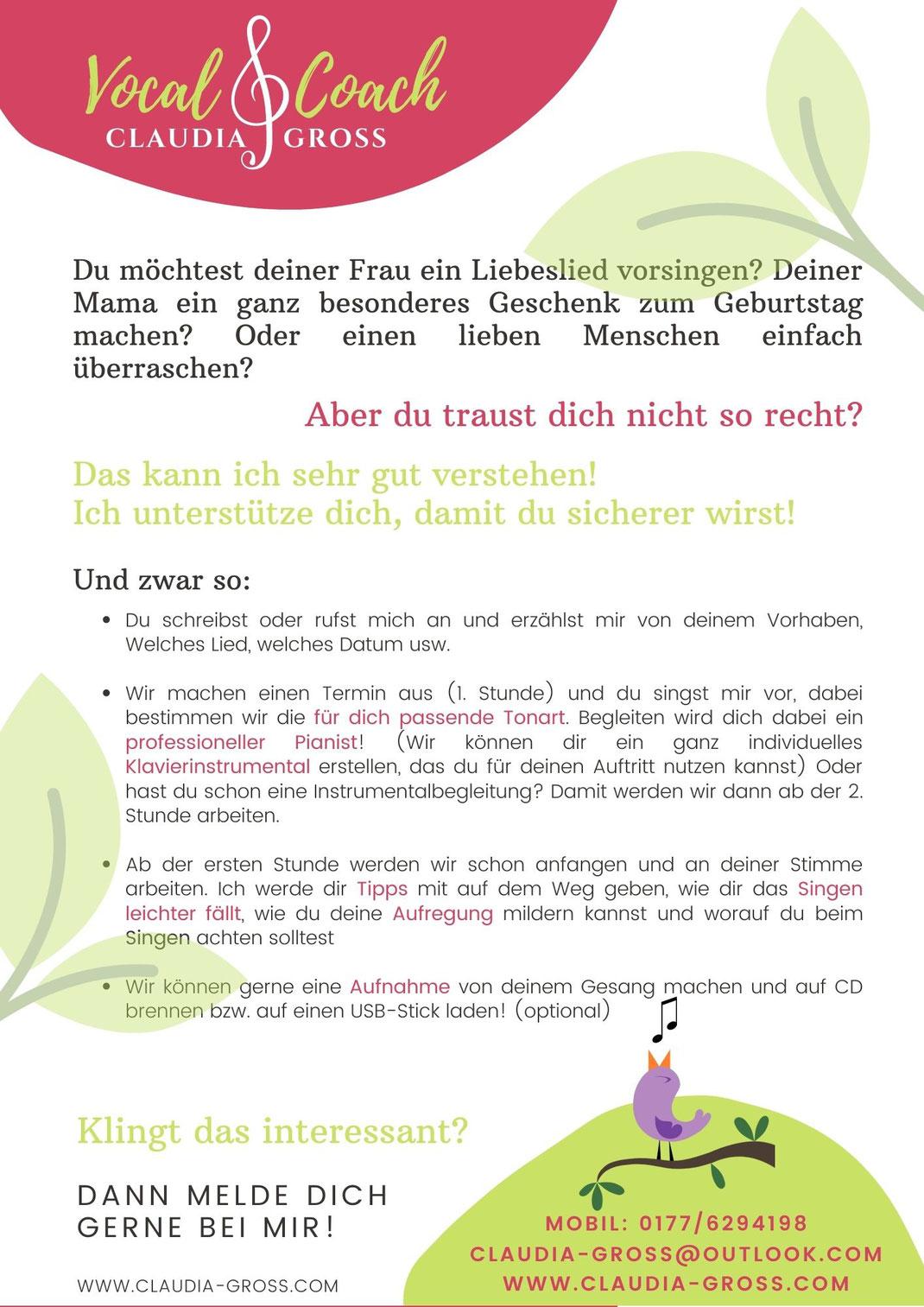 Flyer: Singen - Trau dich / Vocal Coach Claudia Groß