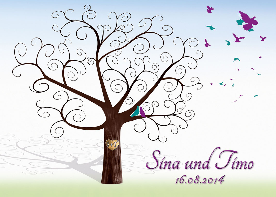 Geschwungener Baum Mit Tauben Im Und Fliegenden Herz Befinden Sich Die Initialen Des Brautpaares Hintergrund Ist Ein Zart Verlaufender