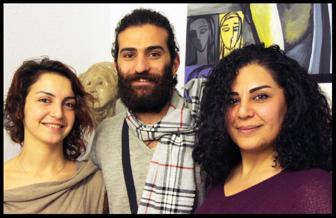 Die Künstler: Rasha Deeb, Ahmed Amer und Khadija Ghanem  //  Foto: Anne Retter