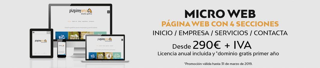 Promoción micro web desde 290€ + IVA