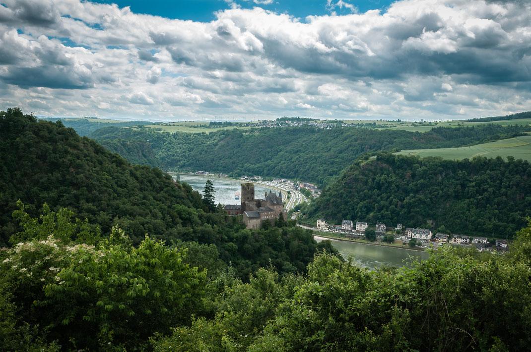 Die Burg Katz oder Katzenelnbogen aufgenommen von Patersberg aus