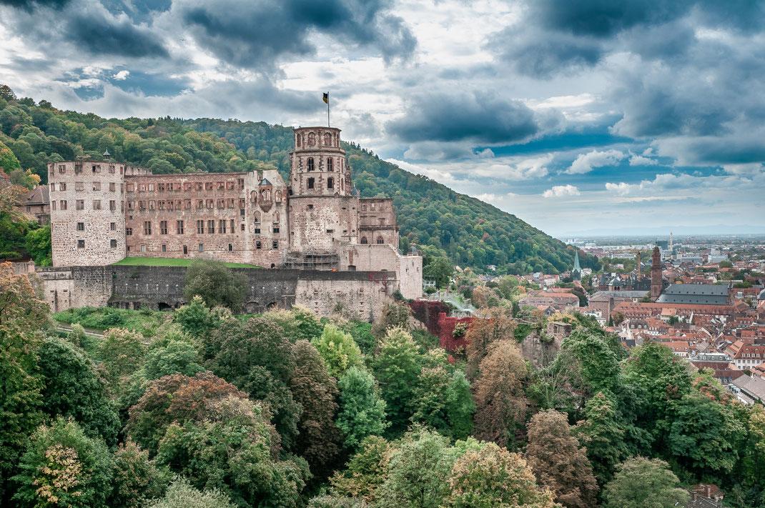 Blick auf das Schloss von Heidelberg und die Altstadt als Wandposter kaufen