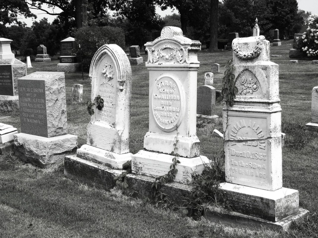 the headstones of (right to left) William and Sarah Allison and their son Harmon, who lived south of Macomb and were conductors in the Underground Railroad