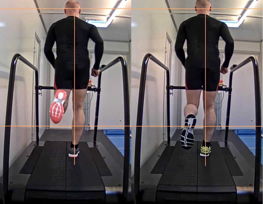 der Kunde joggt auf dem Laufband seine gewohnte Geschwindigkeit mit 2 verschiedenen Schuhen, wir vergleichen mittels Linien als grafischen Mitteln
