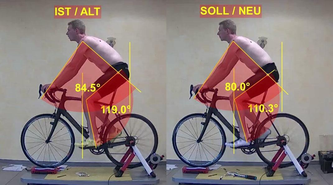 IST-der Kunde sitzt auf seinem Fahrrad, das auf einem Raddrehteller eingespannt ist. Mit Videoanalyse Software werden Oberkörper- und Beinwinkel gemessen. Bei SOLL wurde das Fahrrad optimiert, die neuen Winkel sollten idealer sein als vorher. Vergleich