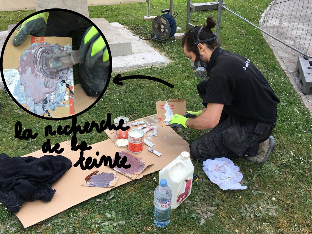recherche de la teinte du mortier pour la restauration de la pierre