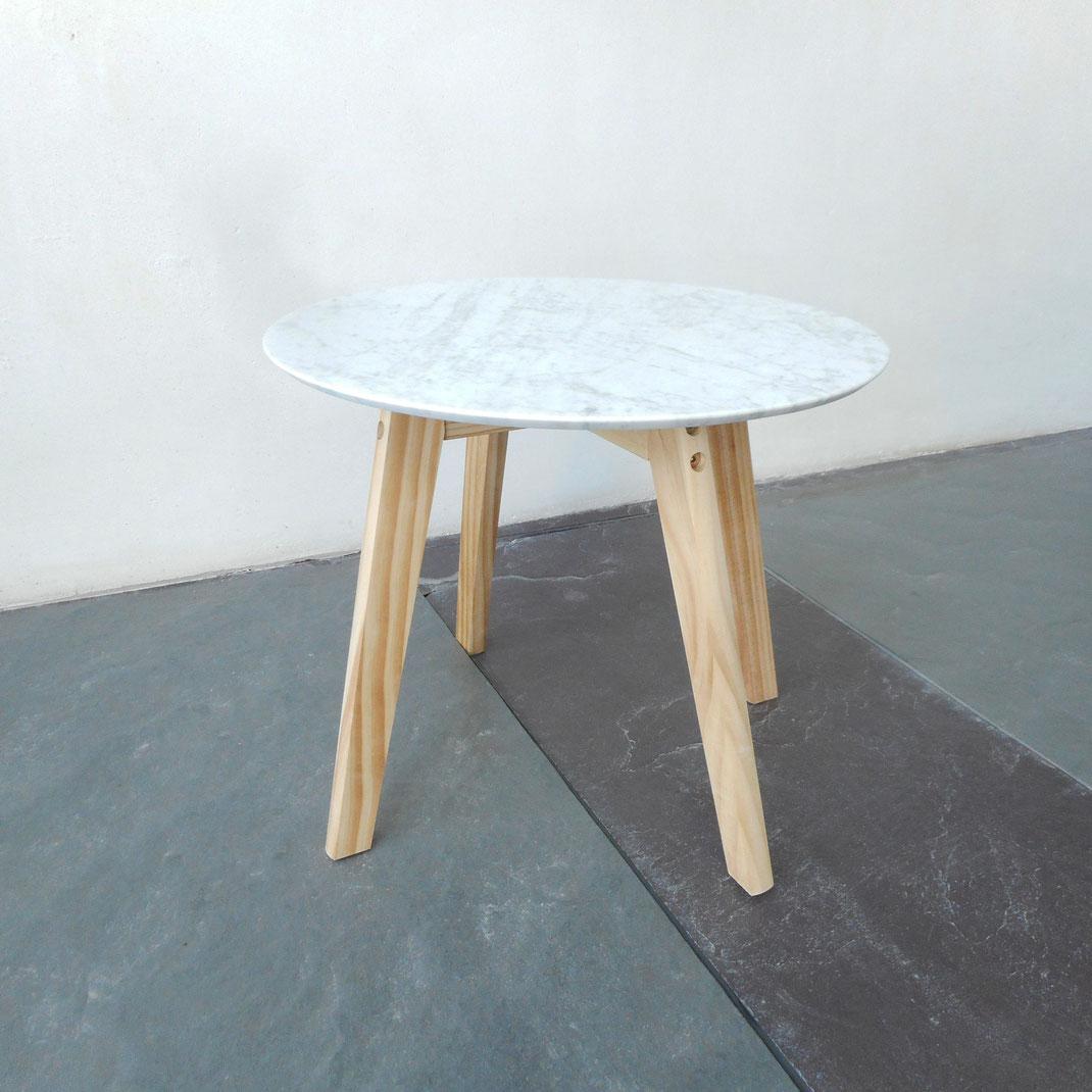 desserte en bois et plateau de marbre de Carrare