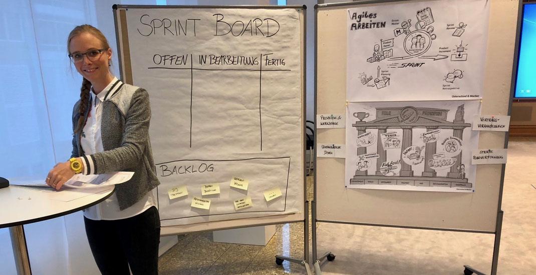 Beim agilen Speeddating nutzen wir Sketchnotes als Plakat, um über agile Werte und Prinzipien zu sprechen