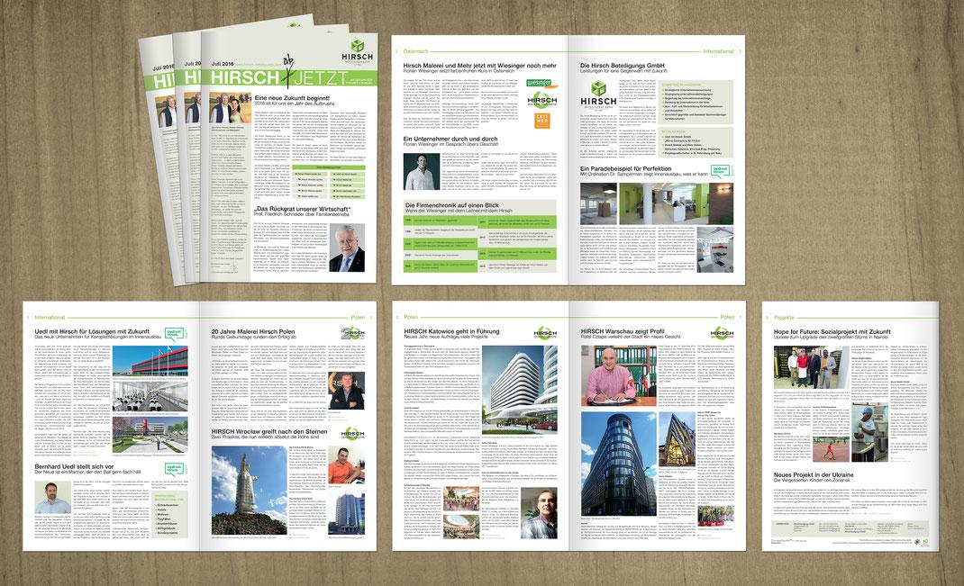 Magazin der Hirsch Beteiligungs GmbH // Gestaltung des Magazins für die gesamte Unternehmensgruppe