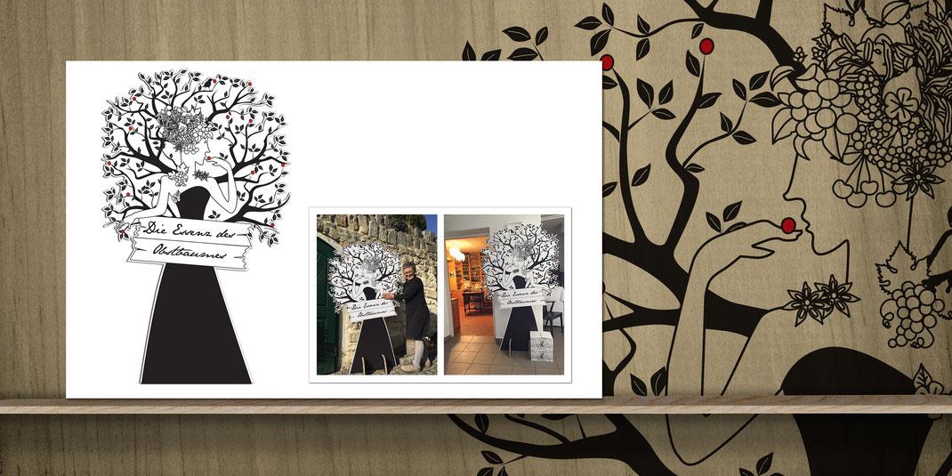 """BIRGIT & GRETE WIEDERSTEIN // Pappaufsteller: """"Dame im Obstbaum"""""""