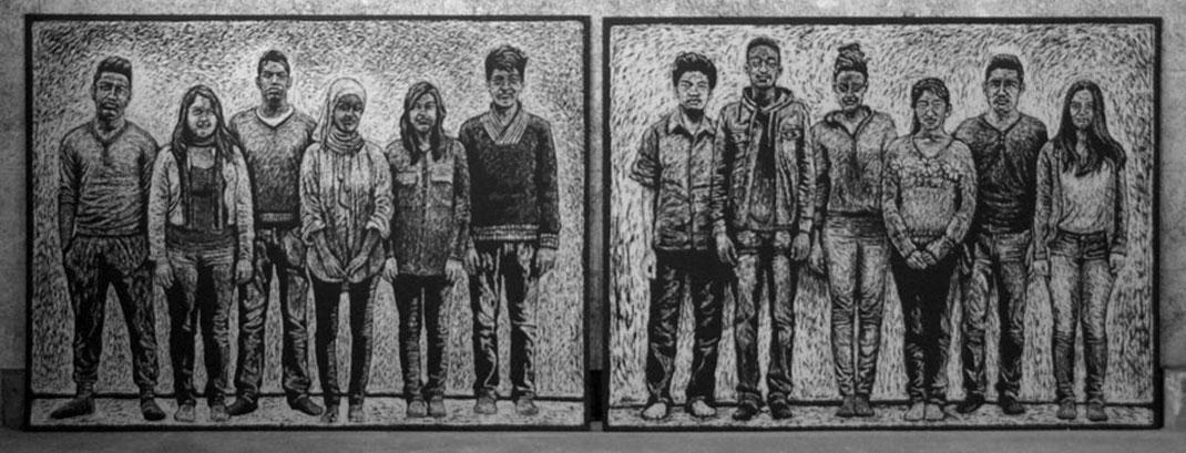 grossformatige Holzschnitte mit Motorsäge - face of berne - Gruppenbilder