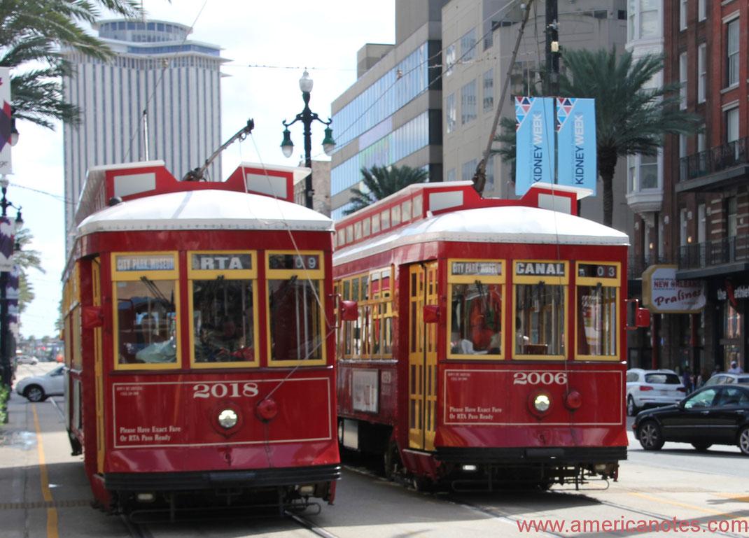 Die besten Sehenswürdigkeiten und Reisetipps für New Orleans. Die Streetcars von New Orleans.