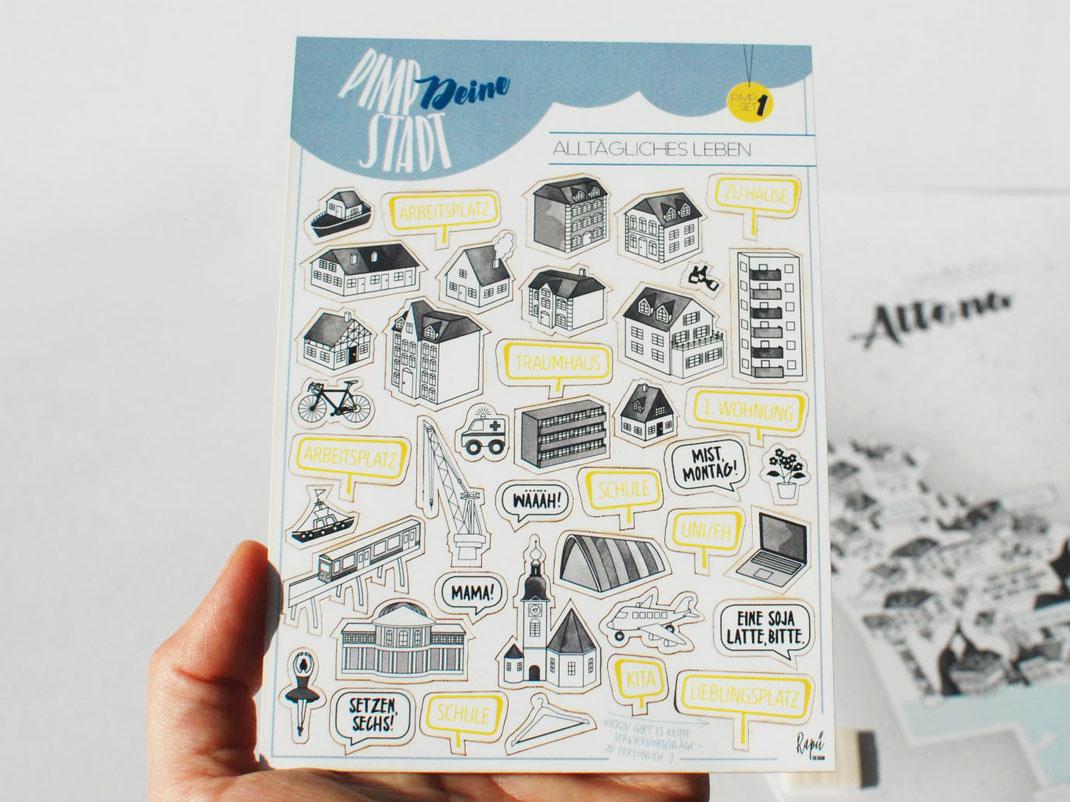Pimp-Deine-Stadt-Sticker zum Rapü Design Hamburg Poster