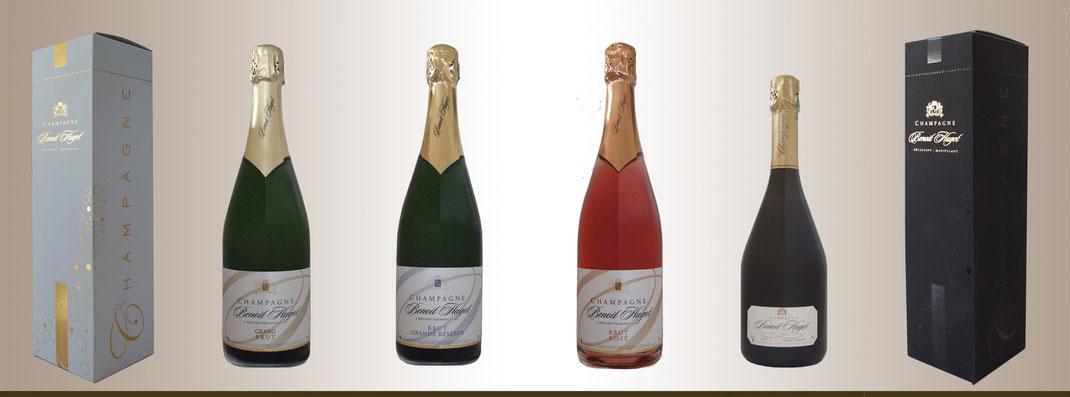 Champagne Benoit HUGOT. Cuvées BRUT. ROSÉ. BLANC DE BLANCS. PRESTIGE.