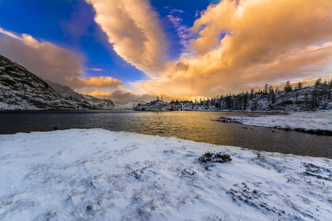 Lago Bianco - Parco Naturale Mont Avic - Tramonto - Inverno - Montagna