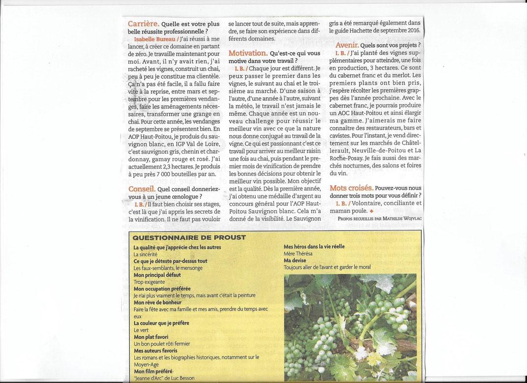 Domaine des renardières, article dans info eco de septembre 2017