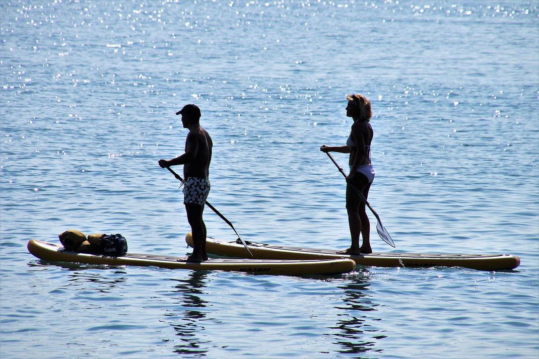 camping devant lac de Biscarrosse avec activité paddle sur place