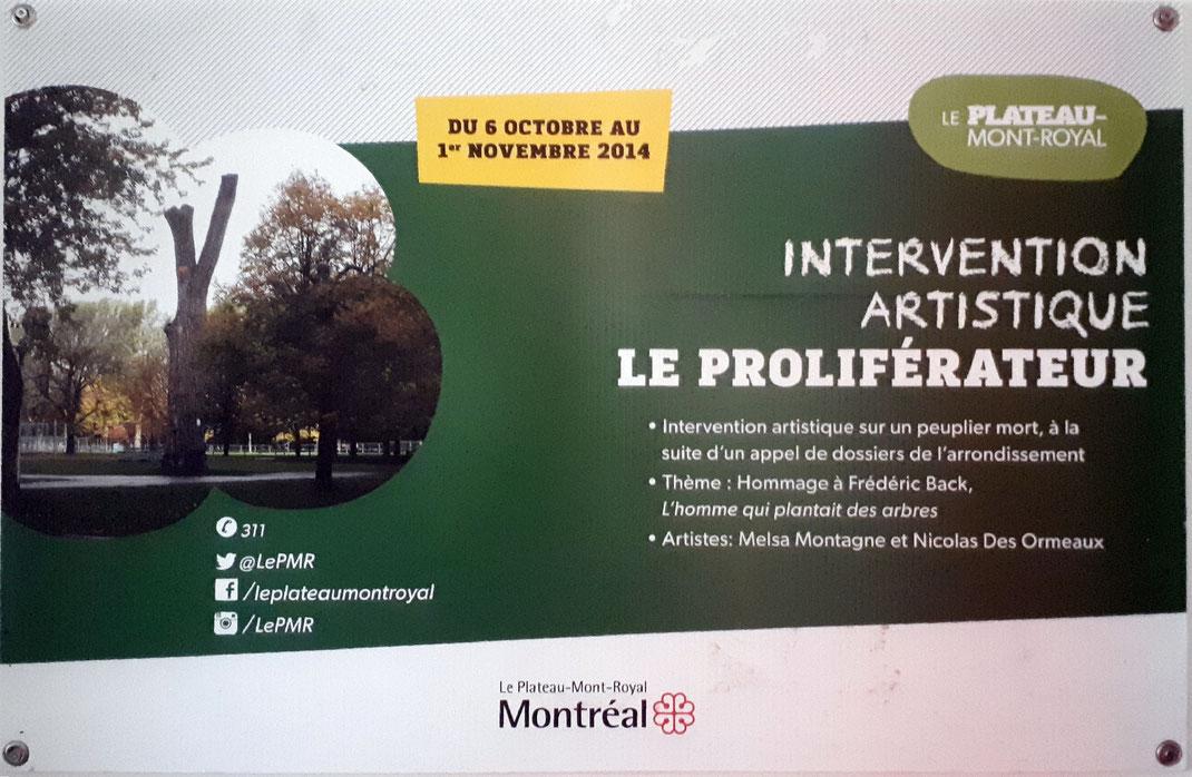 affiche officielle de l'intervention artistique LE PROLIFÉRATEUR