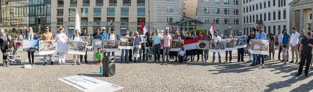 12.08.2018 - Berlin, Brandenburger Tor vor der US-Botschaft - Protestkundgebung gegen den anhaltenden US-Saudischen Kindermord im Jemen