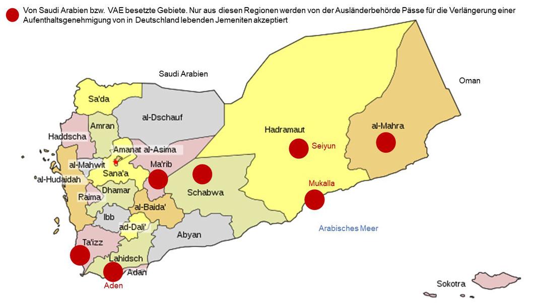 Nur aus den Gebieten Aden, Taiz, Marib, Shabwah, Seiyun, Mukalla, Al Mahrah werden die Pässe von Jemeniten bei der Verlängerung der Aufenthaltsgenehmigung akzeptiert.