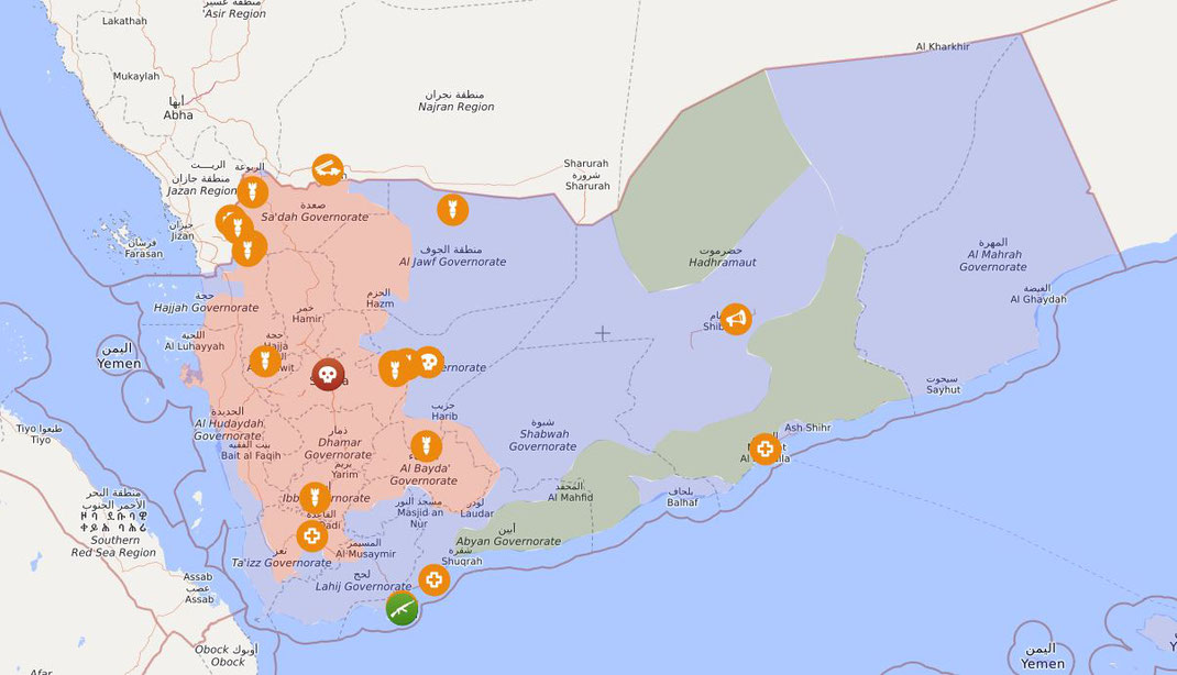 01.06.2020 - Jemen: Rot - kontrollierte Gebiete der Houthi-Kämpfer, Blau - kontrollierte Gebiete VAE und diverser Milizen, Grün - kontrollierte gebiete von AQAP