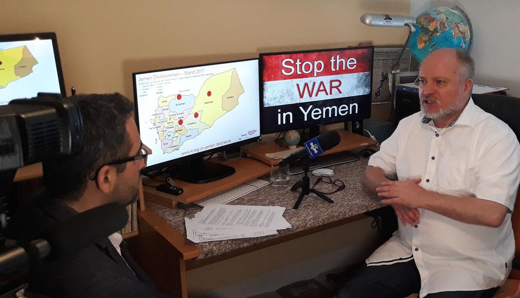 IRIB (Islamic Republic of Iran Broadcasting) / Rundfunk- und Ferneshanstalt der Islamischen republick Iran zu Gast bei der Friedensinitiative Stop the WAR in Yemen
