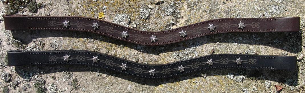 Stirnriemen Pure - Stars by K & Kressing, mit Niete, Muster, hochwertiges Leder schadstofffrei, handcrafted in Germany, passend zu HKM, Eskadron, BR, BBS, Eurostar